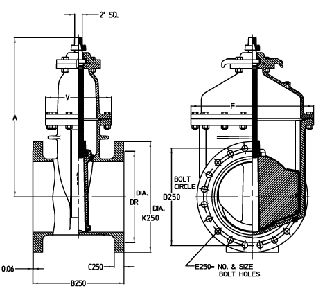 14 24 Resilient Wedge Nrs Gate Valves With Flanged Ends Standard Dimensions American