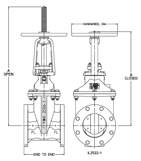 2 12 Resilient Wedge Os Y Gate Valves With Flanged Joint Ends Standard Dimensions American