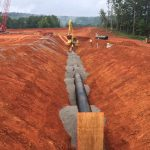 AMERICAN Ductile Iron Pipe is installed near the new water treatment facility. Photo provided by Tetra Tech, Inc.