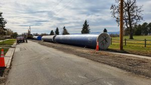 AMERICAN SpiralWeld Pipe is replacing pre-stressed concrete cylinder pipe that was installed in 1977 and is now known to experience breaks in the wires, which reduces the integrity of the pipe.