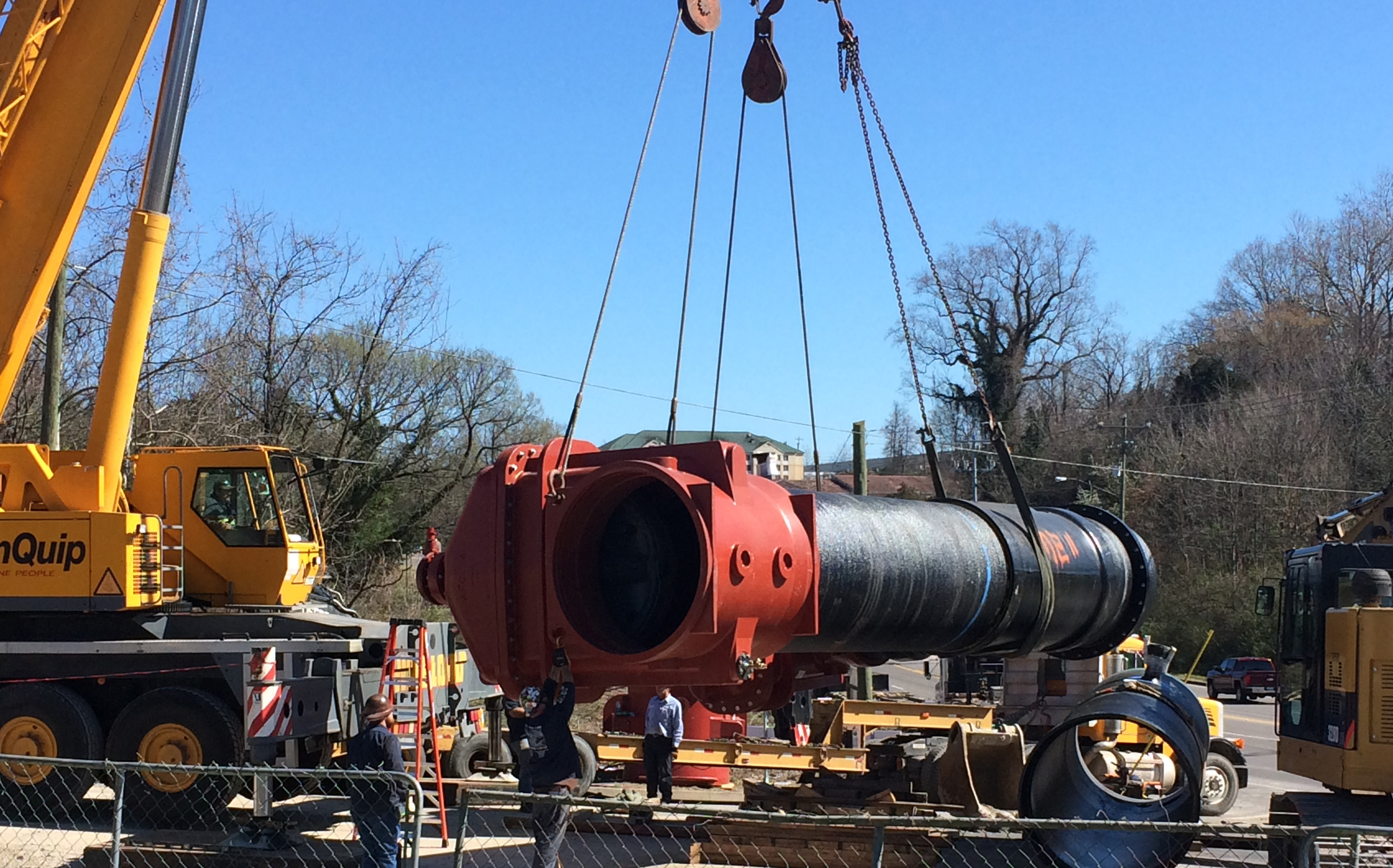 AMERICAN Flow Control is providing 13 resilient wedge gate valves with Flex-Ring ends in sizes 24, 36 and 60 inches. Pictured is AMERICAN's 60-inch Series 2500 RW gate valve, which weighs nearly 30,000 pounds and has a height of more than 13 feet. It is the first and the largest resilient wedge gate valve in the industry of its kind, without flanged ends.
