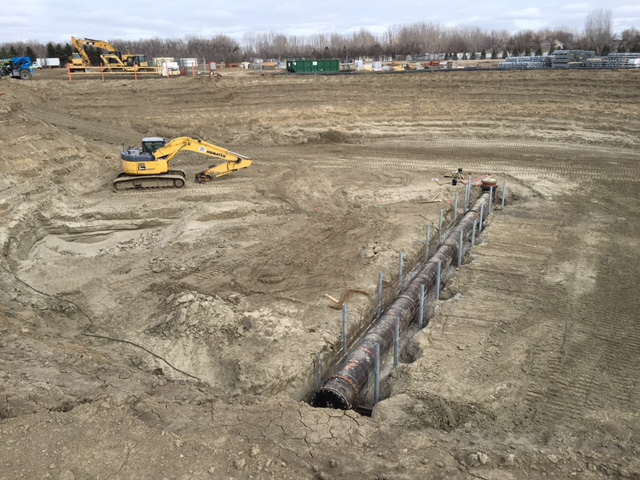 Thirty-inch AMERICAN ductile iron pipe was installed for the trickling filter influent piping. It will later be encased in concrete.