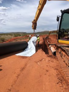 More than 53,000 feet of 36-inch, V-Bio wrapped AMERICAN Ductile Iron Pipe were installed in Phases A and B of the Sand Hollow Regional Pipeline Project. The V-Bio enhanced polyethylene encasement will protect this ductile iron pipe for generations to come.
