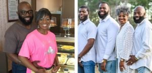 "Left: Eddie and JaWanda Jackson at her Sweet Potato Pie Shop. Right: Je'Niah, Jeremiah, JaWanda and Eddie Jackson. ""We all consider ourselves to be servants – me, Eddie, my sons – and serving people is what we do,"" JaWanda said. (Photos courtesy of JaWanda Jackson.)"