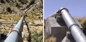 The San Juan River Project involved the installation of 52 kilometers [170,560 feet] of 16-inch and 20-inch AMERICAN Ductile Iron Pipe with zinc coating and a pigmented asphalt. Concrete thrusts were installed to anchor the pipe along the entire aqueduct.