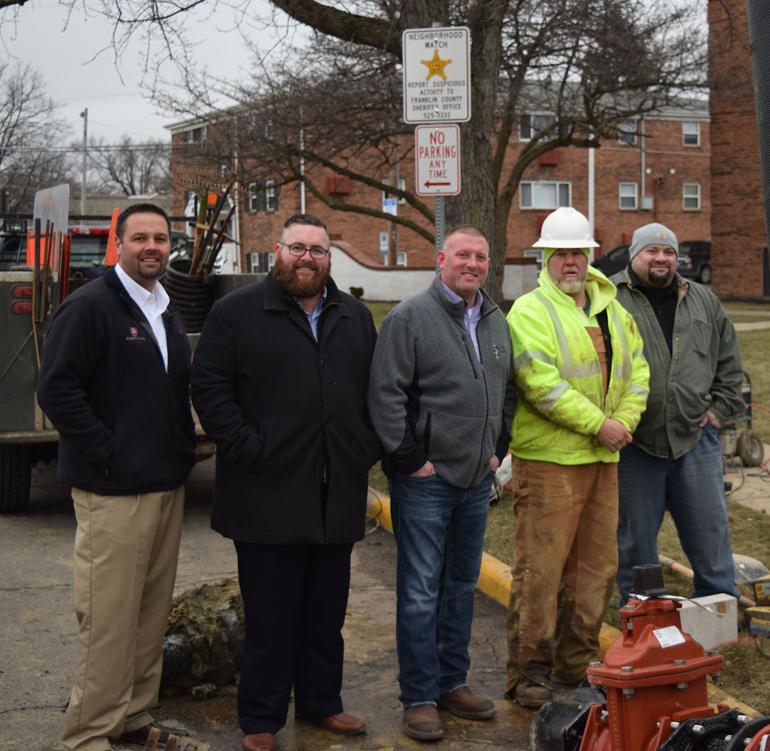 Left to right: AMERICAN Flow Control Salesman Eric Rohrbaugh; Ferguson Waterworks Salesman Keith Strahler; and with Elite Excavating: President Scott Fulmer, Foreman Dan Biddle and Chief Estimator Dale Stevens.
